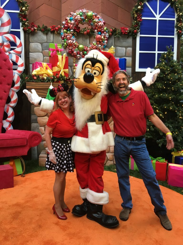 Tom and Michelle  with Santa Goofy