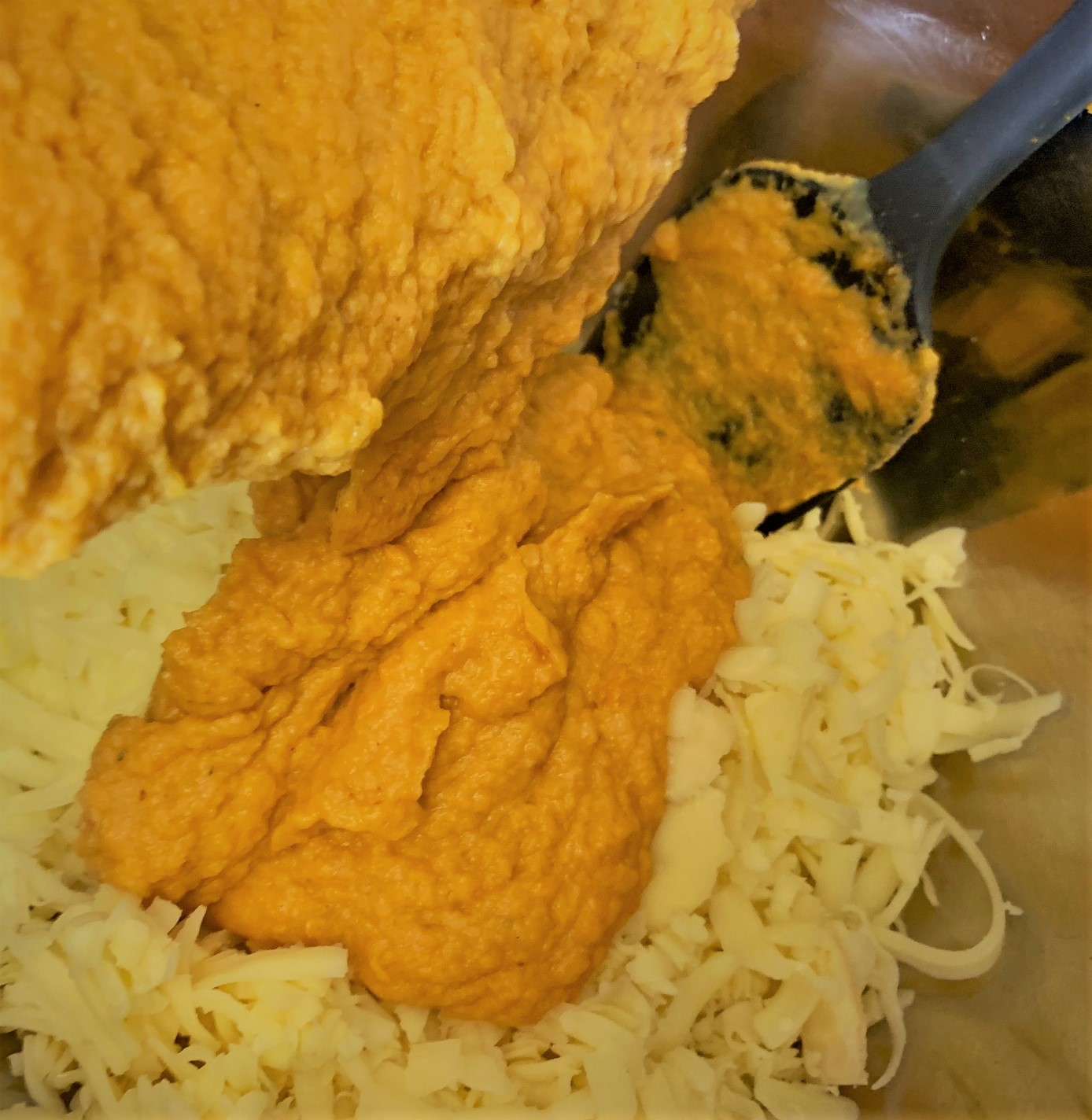 Adding the Pumpkin Bechamel to the Shredded Cheese for our Pumpkin Mac & Cheese