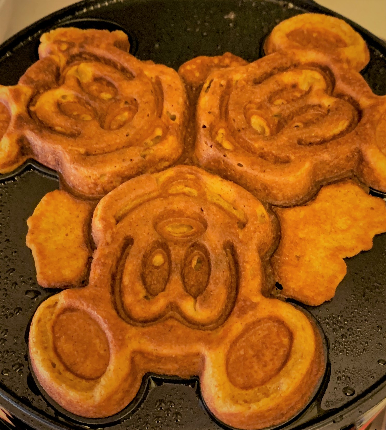 Our cooked Pumpkin Mickey Waffles
