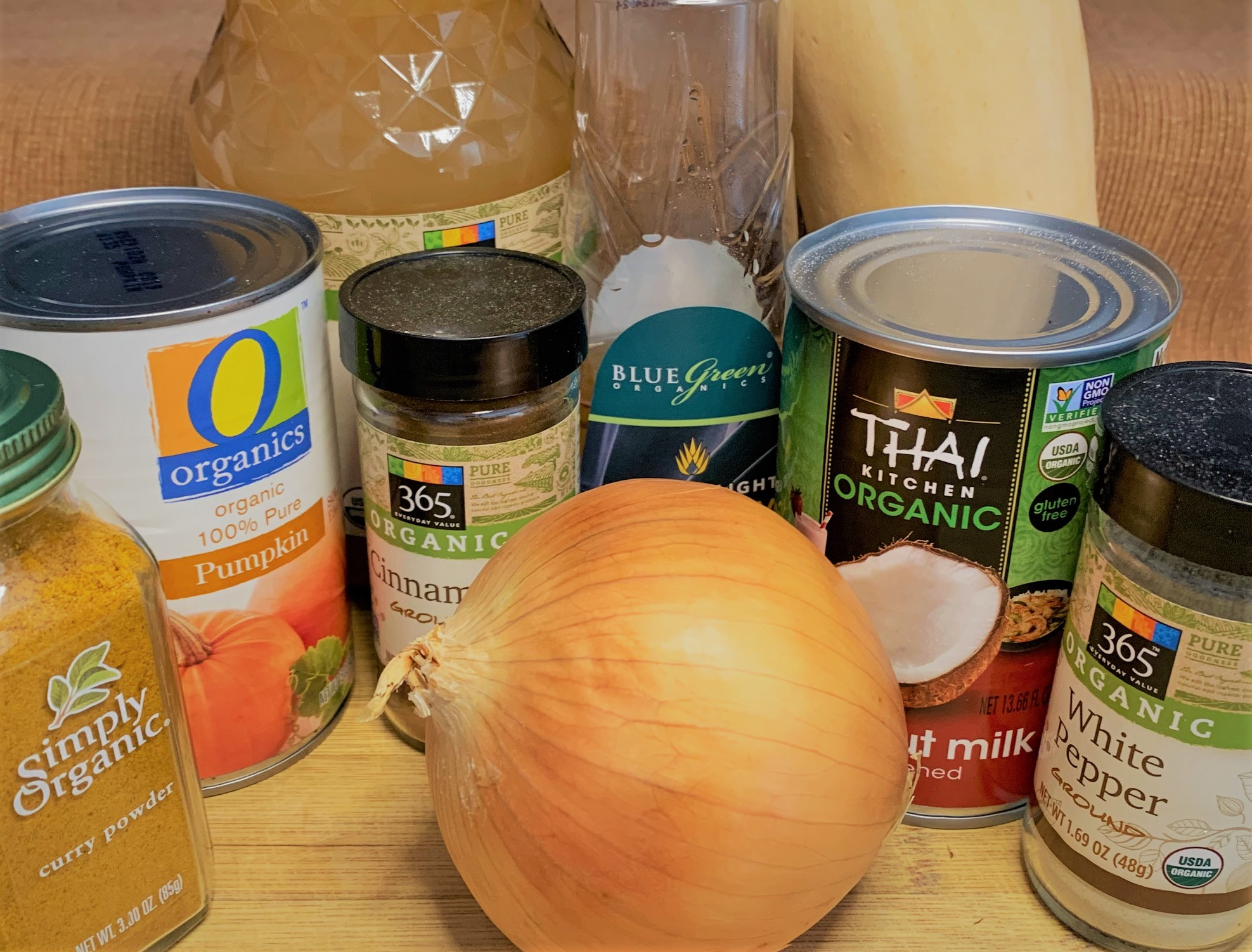 The ingredients for our Pumpkin Soup from Sunshine Seasons