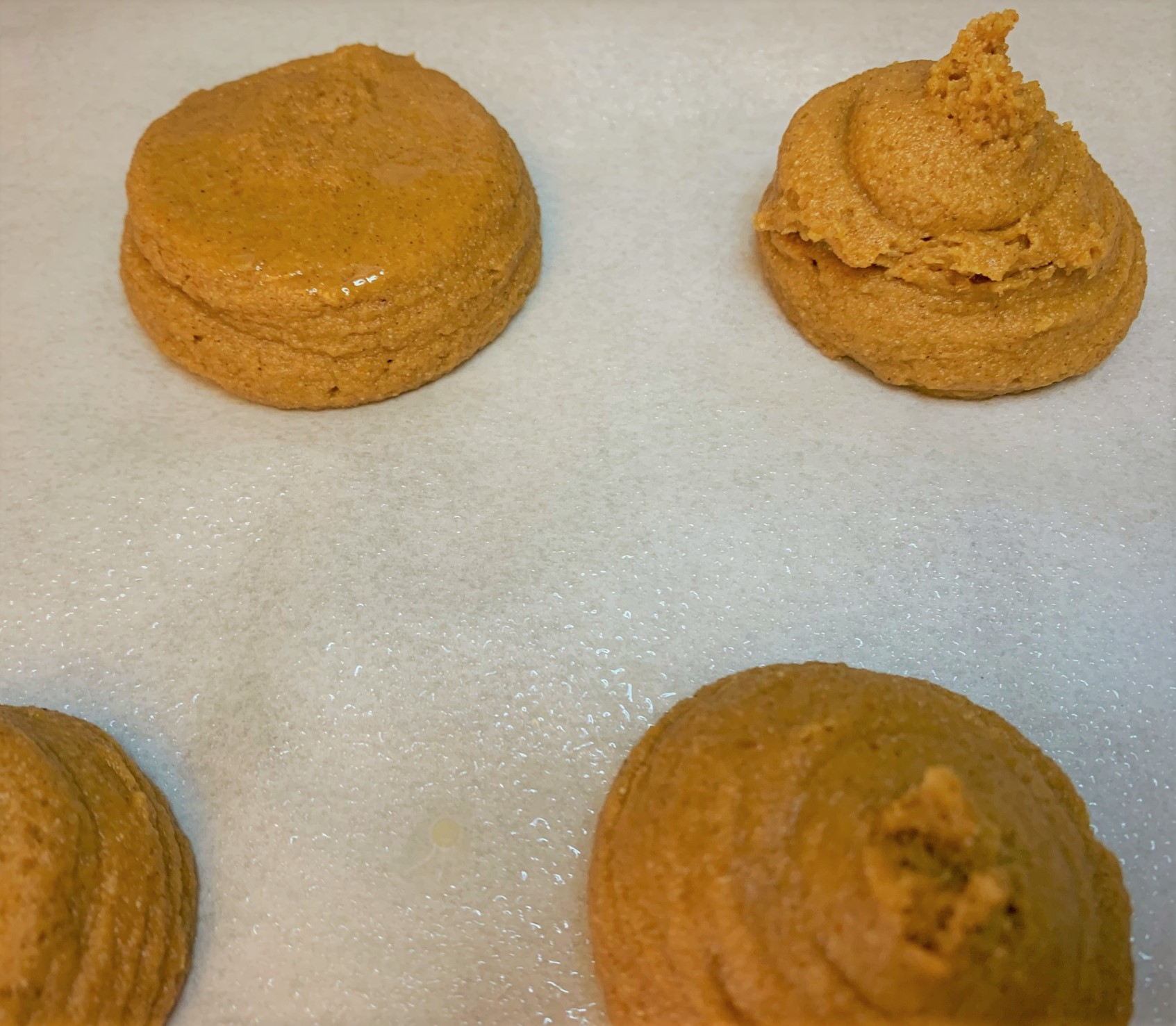 The piped base of our Pumpkin Mickey Whoopie Pies